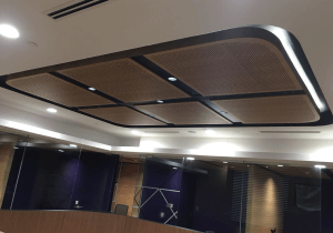 Drilling for acoustic ceiling panels